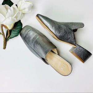 Marc Fisher Silver Block Heel Mules